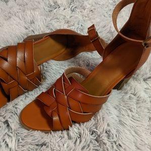 NWOT Women's Addie Faux Leather Cognac Heels